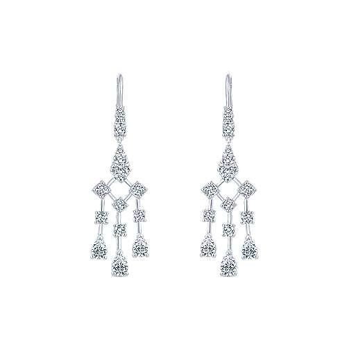 18k White Gold Art Moderne Drop Earrings angle 1
