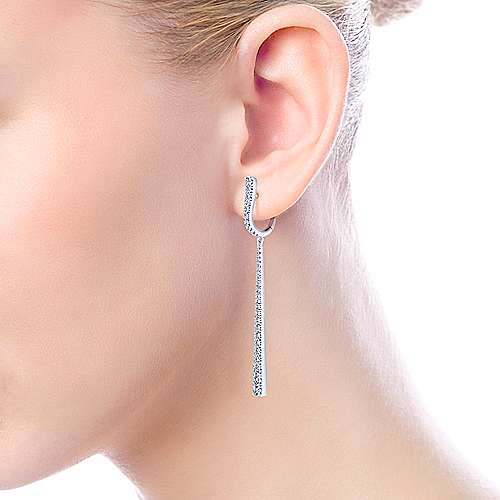 18k White Gold Art Moderne Drop Earrings