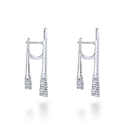 18k White Gold Art Moderne Drop Earrings angle 3