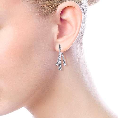 18k White Gold Art Moderne Drop Earrings angle 4