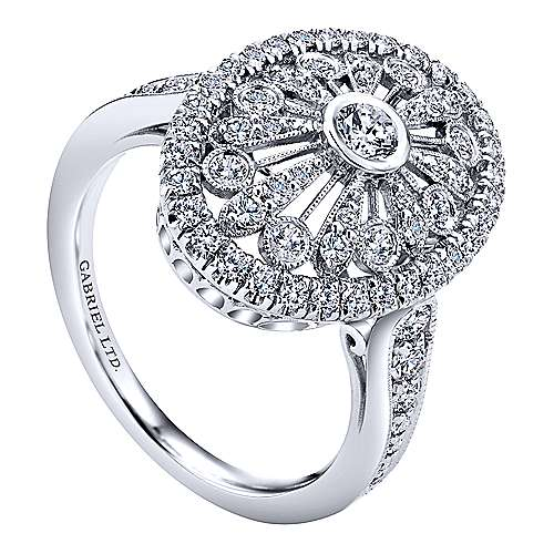 18k White Gold Art Moderne Fashion Ladies' Ring angle 3