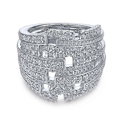 18k White Gold Art Moderne Fashion Ladies' Ring angle 1