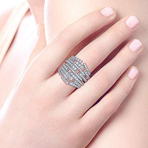 18k White Gold Art Moderne Fashion Ladies' Ring angle 5