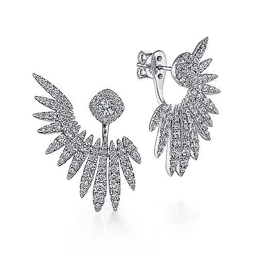Gabriel - 18k White Gold Art Moderne Peek A Boo Earrings