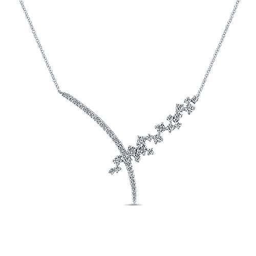 18k White Gold Asymmetrical Diamond Waterfall V Necklace