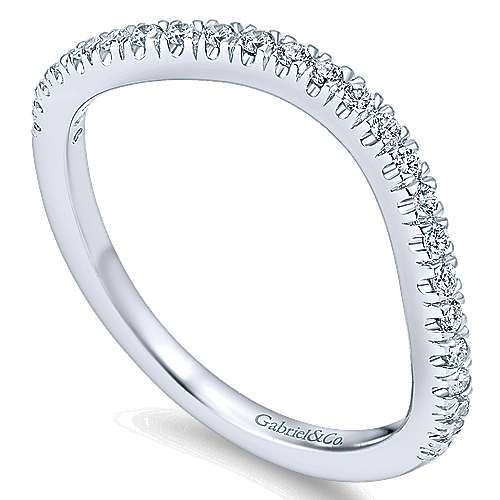 18k White Gold Contemporary Curved Wedding Band angle 3