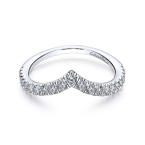 18k White Gold Round Curved