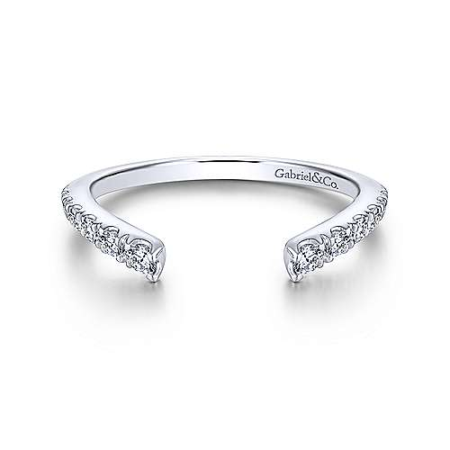 Gabriel - 18k White Gold Contemporary Curved Wedding Band