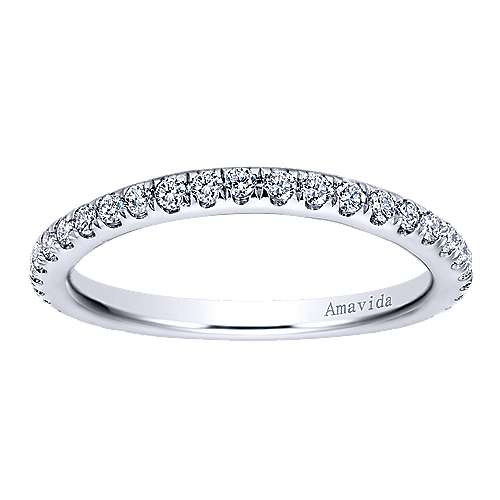 18k White Gold Contemporary Curved Wedding Band