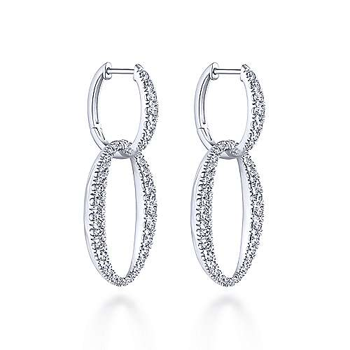 18k White Gold Contemporary Drop Earrings angle 2