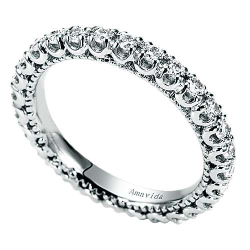 18k White Gold Contemporary Eternity Band Wedding Band angle 3