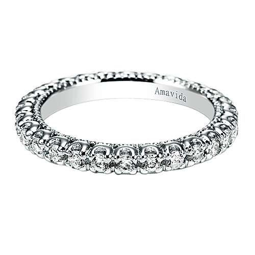 18k White Gold Contemporary Eternity Band Wedding Band angle 1