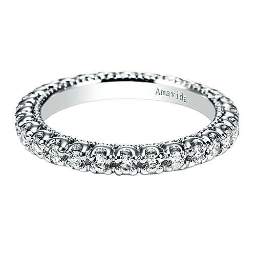 18k White Gold Contemporary Eternity Band Wedding Band