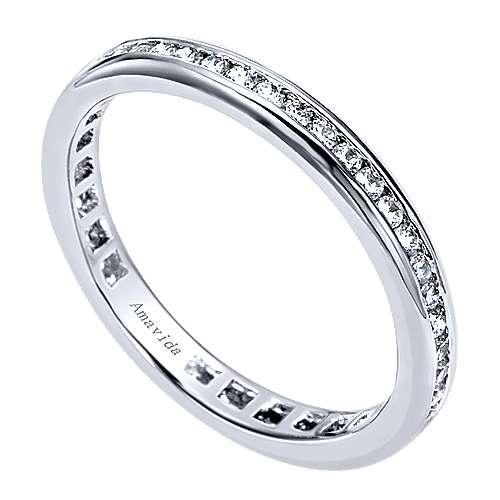 18k White Gold Contemporary Eternity Wedding Band angle 3