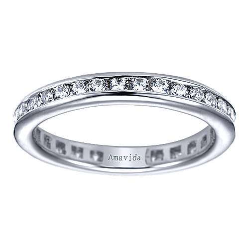 18k White Gold Contemporary Eternity Wedding Band angle 5