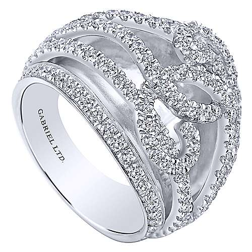 18k White Gold Contemporary Fashion Ladies' Ring angle 3