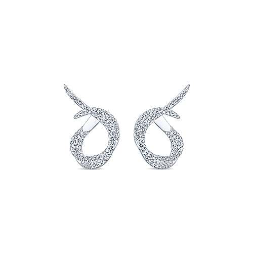 18k White Gold Contemporary Intricate Hoop Earrings angle 1