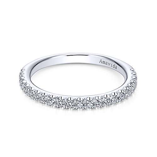 Gabriel - 18k White Gold Contemporary Straight Wedding Band