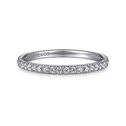 18k White Gold Contemporary Straight Wedding Band angle 1