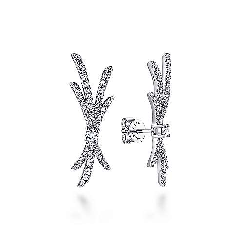 18k White Gold Contemporary Stud Earrings angle 1