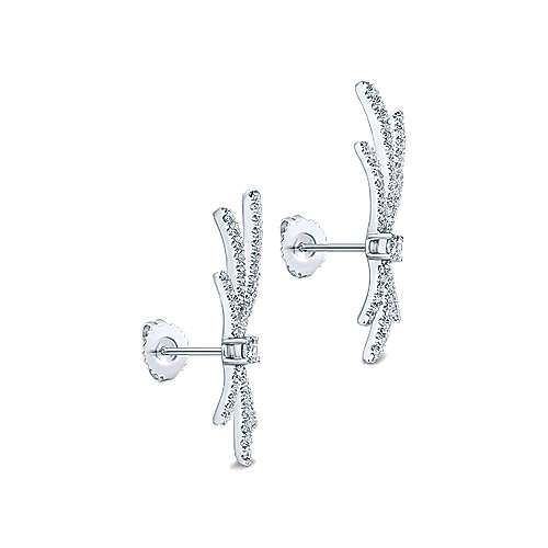 18k White Gold Contemporary Stud Earrings angle 2