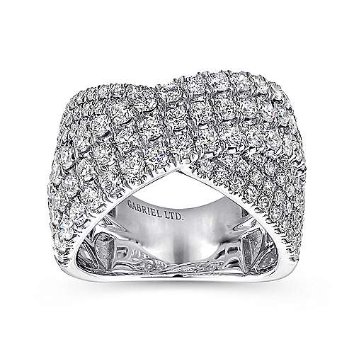 18k White Gold Contemporary Wide Band Ladies' Ring angle 4