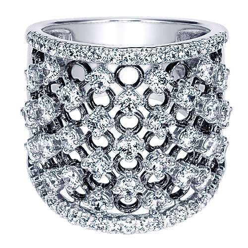 Gabriel - 18k White Gold Contemporary Wide Band Ladies' Ring