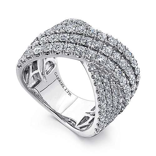 18k White Gold Contemporary Wide_band Ladies' Ring angle 3