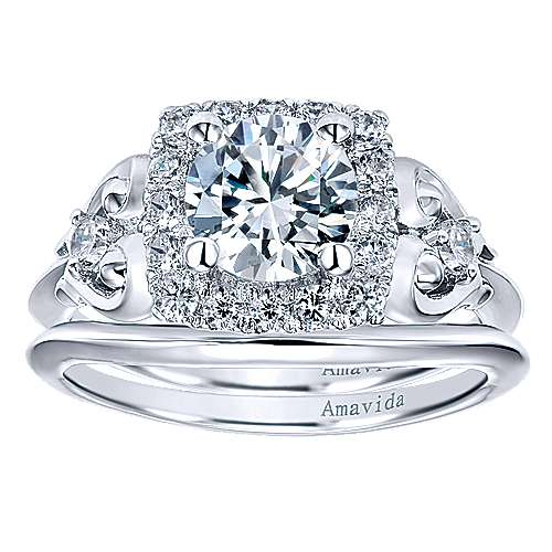 18k White Gold Curved Wedding Band angle 4