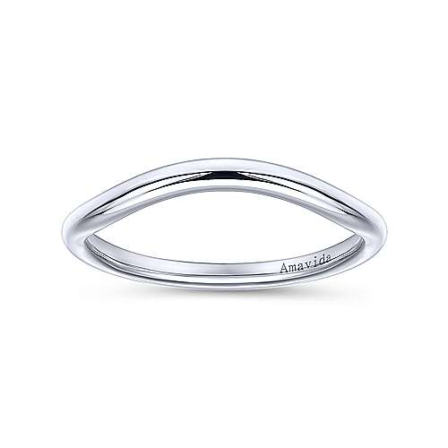 18k White Gold Curved Wedding Band angle 5