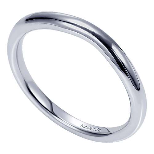 18k White Gold Curved Wedding Band angle 3