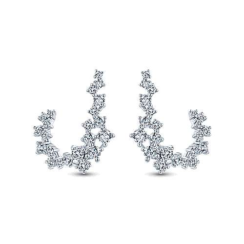 18k White Gold Curving Diamond Drop Earrings