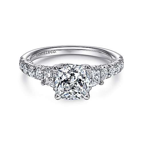 Gabriel - 18k White Gold Cushion Cut 3 Stones Engagement Ring