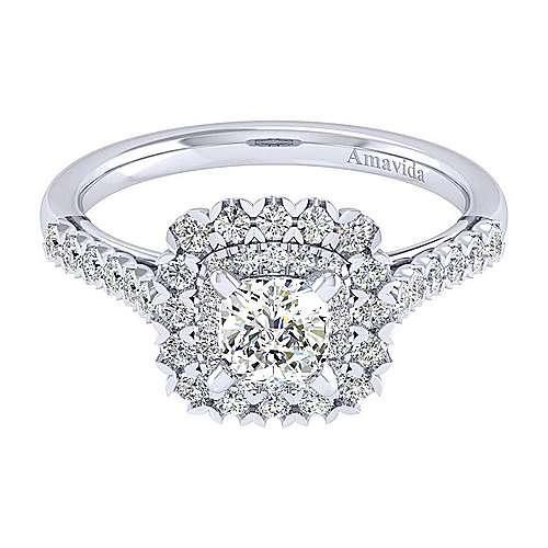 Gabriel - 18k White Gold Cushion Cut Double Halo Engagement Ring