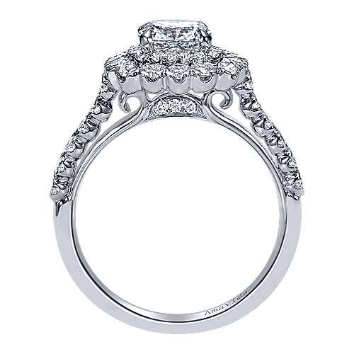 18k White Gold Cushion Cut Double Halo Engagement Ring angle 2