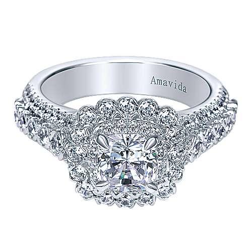18k White Gold Cushion Cut Double Halo Engagement Ring