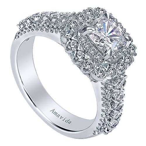 18k White Gold Cushion Cut Double Halo Engagement Ring angle 3