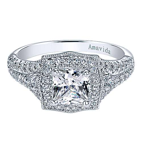 Gabriel - 18k White Gold Cushion Cut Halo Engagement Ring