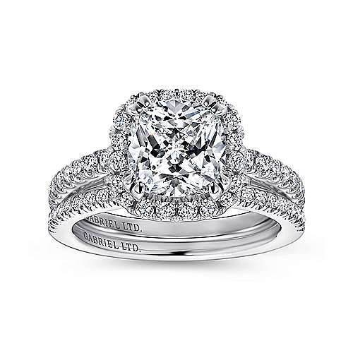 18k White Gold Cushion Cut Halo Engagement Ring angle 4