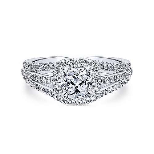 Gabriel - 18k White Gold Cushion Cut Halo Engagement Ring