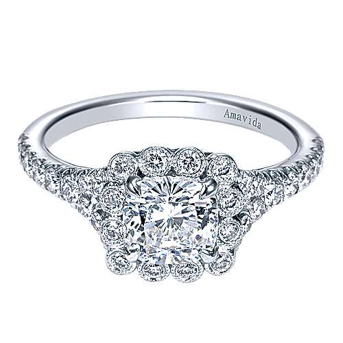 18k White Gold Cushion Cut Halo