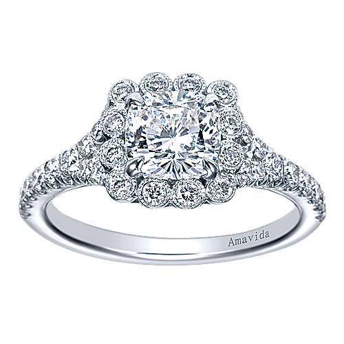 18k White Gold Cushion Cut Halo Engagement Ring angle 5