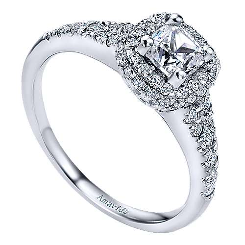 18k White Gold Cushion Cut Halo Engagement Ring angle 3