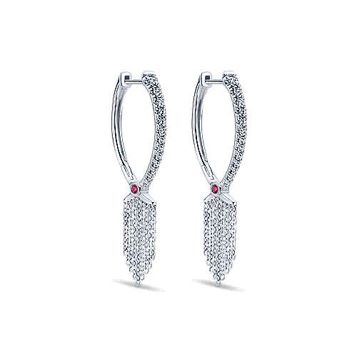 Gabriel - 18k White Gold Art Moderne Drop Earrings