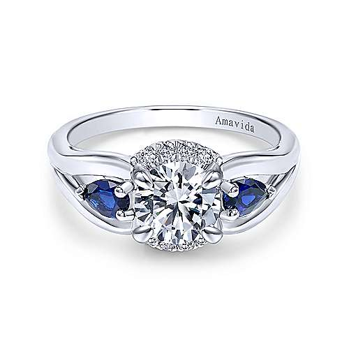 18k White Gold Diamond  And Sapphire 3 Stones Engagement Ring angle 1