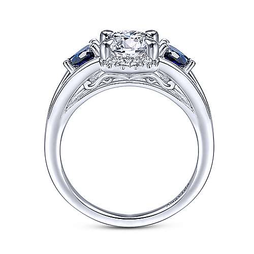 18k White Gold Diamond  And Sapphire 3 Stones Engagement Ring angle 2