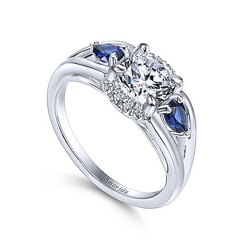 18k White Gold Diamond  And Sapphire 3 Stones Engagement Ring angle 3
