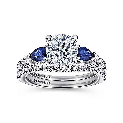 18k White Gold Diamond  And Sapphire 3 Stones Engagement Ring angle 4