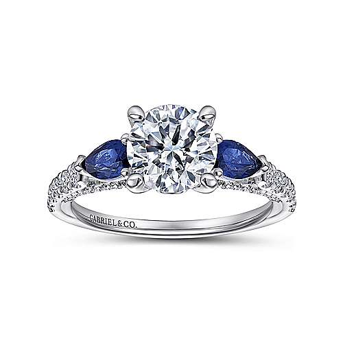 18k White Gold Diamond  And Sapphire 3 Stones Engagement Ring angle 5