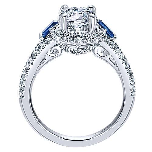 18k White Gold Diamond  And Sapphire 3 Stones Halo Engagement Ring angle 2